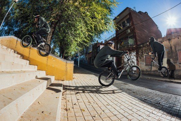 SIMONE BARRACO RIDES HIS BMX BIKE IN BARCELONA, SPAIN, IN NOVEMBER 2014.