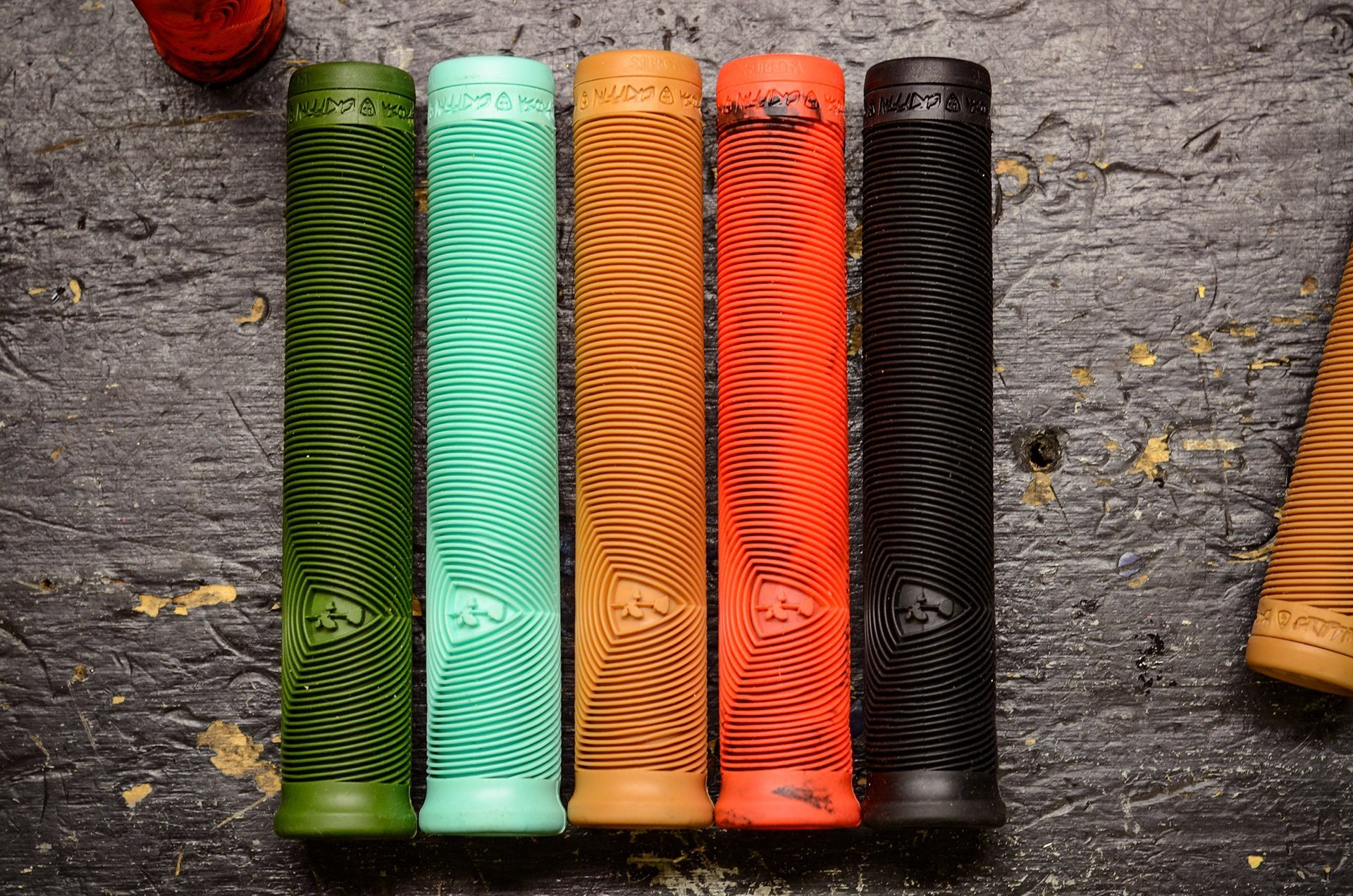 Black//Neon Red Marble Subrosa BMX Griffin Grips DCR